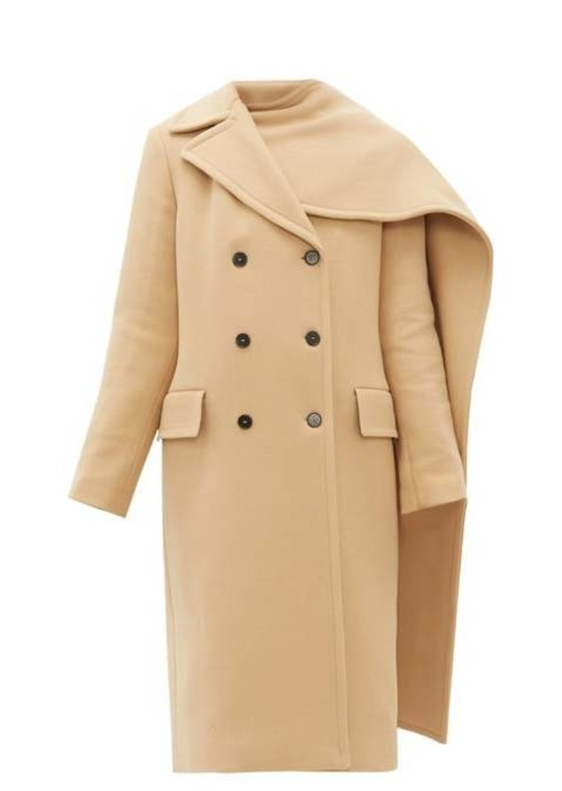 MSGM Removable-scarf wool-blend double-breasted coat