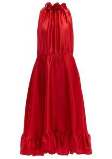MSGM Ruffle-trimmed charmeuse dress