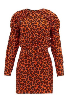 MSGM Ruffled leopard-print crepe mini dress