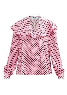 MSGM Sailor-collar polka-dot crepe blouse