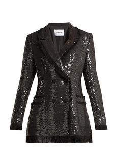 MSGM Sequin cotton-blend tweed blazer