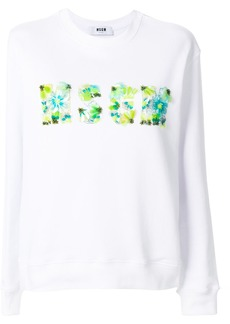 MSGM sequin logo sweatshirt - White