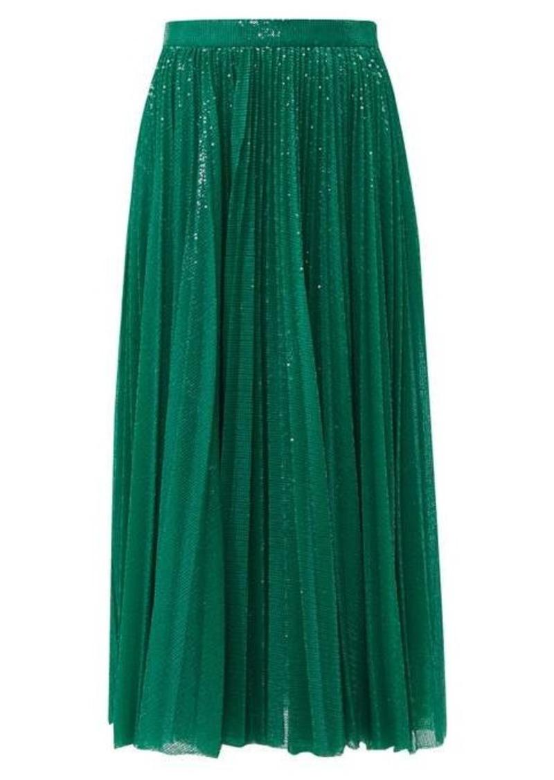 MSGM Sequinned pleated midi skirt
