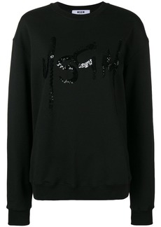 MSGM sequins embellished sweatshirt - Black