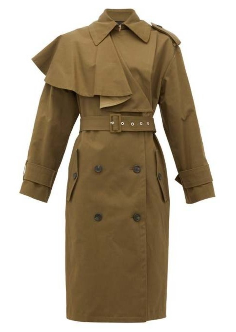 MSGM Shoulder-ruffle twill trench coat