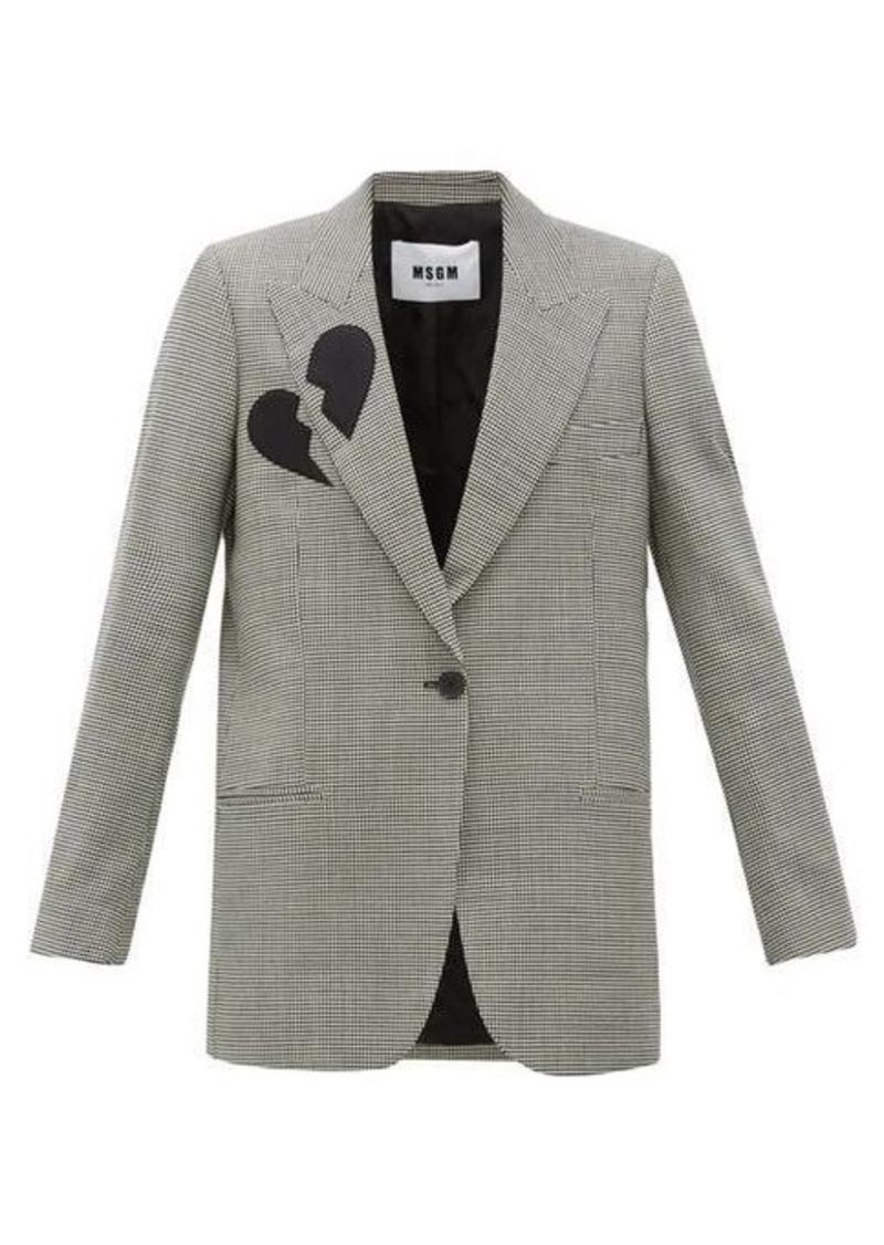 MSGM Single-breasted broken-heart wool-blend blazer