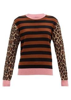 MSGM Striped and leopard-jacquard wool-blend sweater
