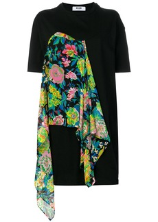 MSGM T-shirt dress with floral scarf detail - Black