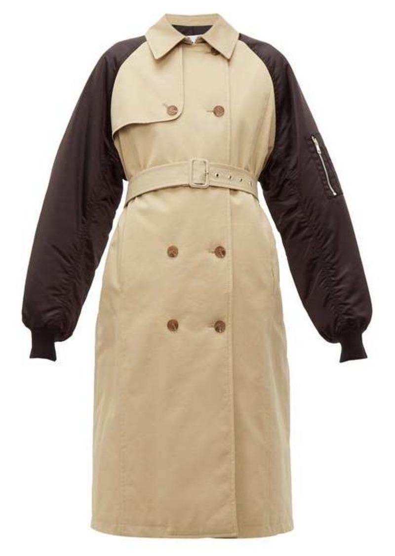 MSGM Techincal-sleeve cotton-gabardine trench coat