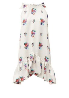 MSGM Tie-back floral-jacquard dress