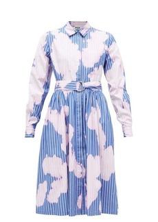 MSGM Tie-dye pinstriped cotton shirtdress