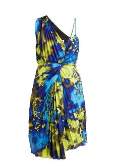 MSGM Tie-dye pleated one-shoulder dress