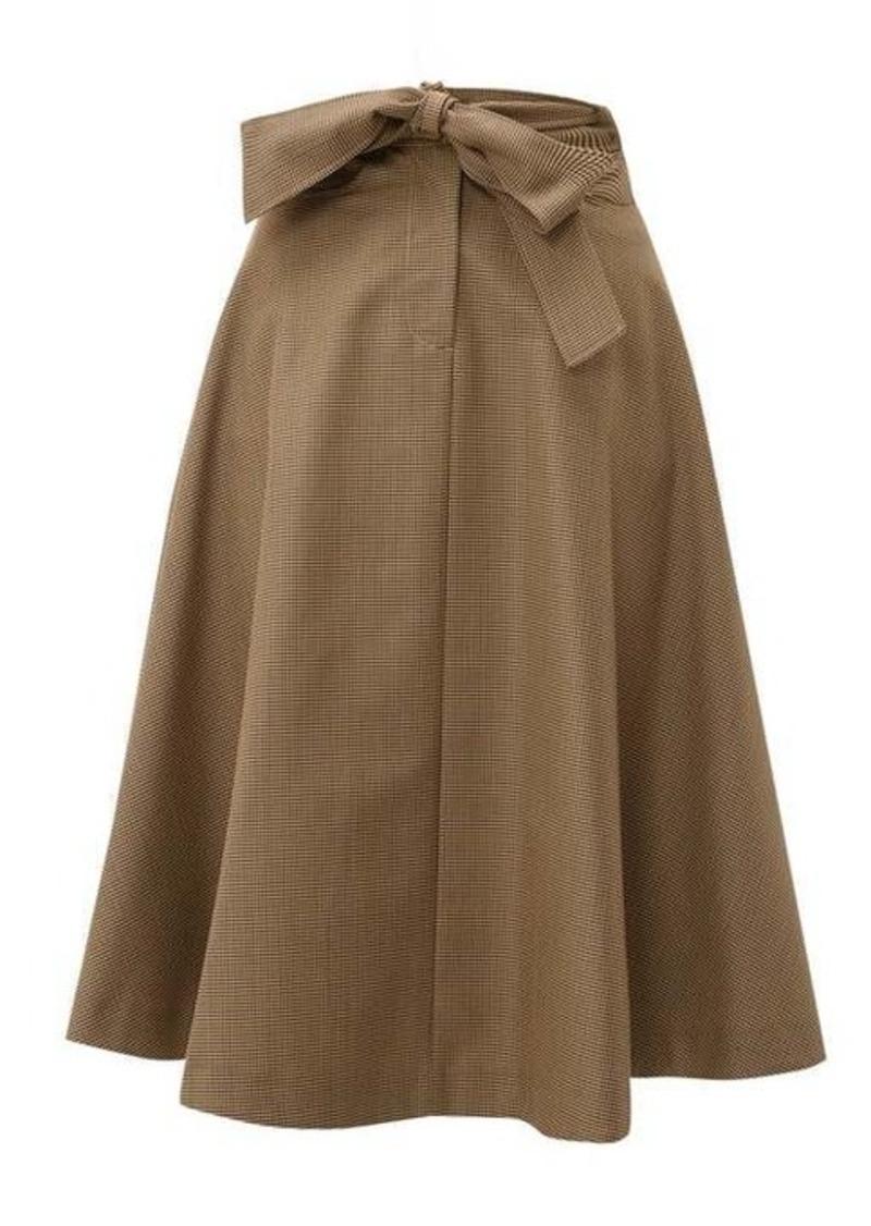 MSGM Tie-waist houndstooth wool-blend skirt