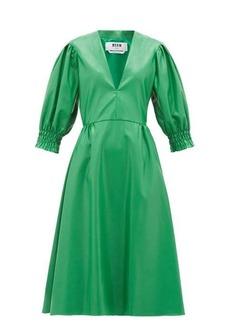 MSGM V-neck faux-leather midi dress