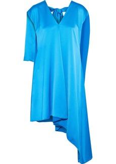 Msgm Woman Asymmetric Layered Satin-crepe Dress Light Blue