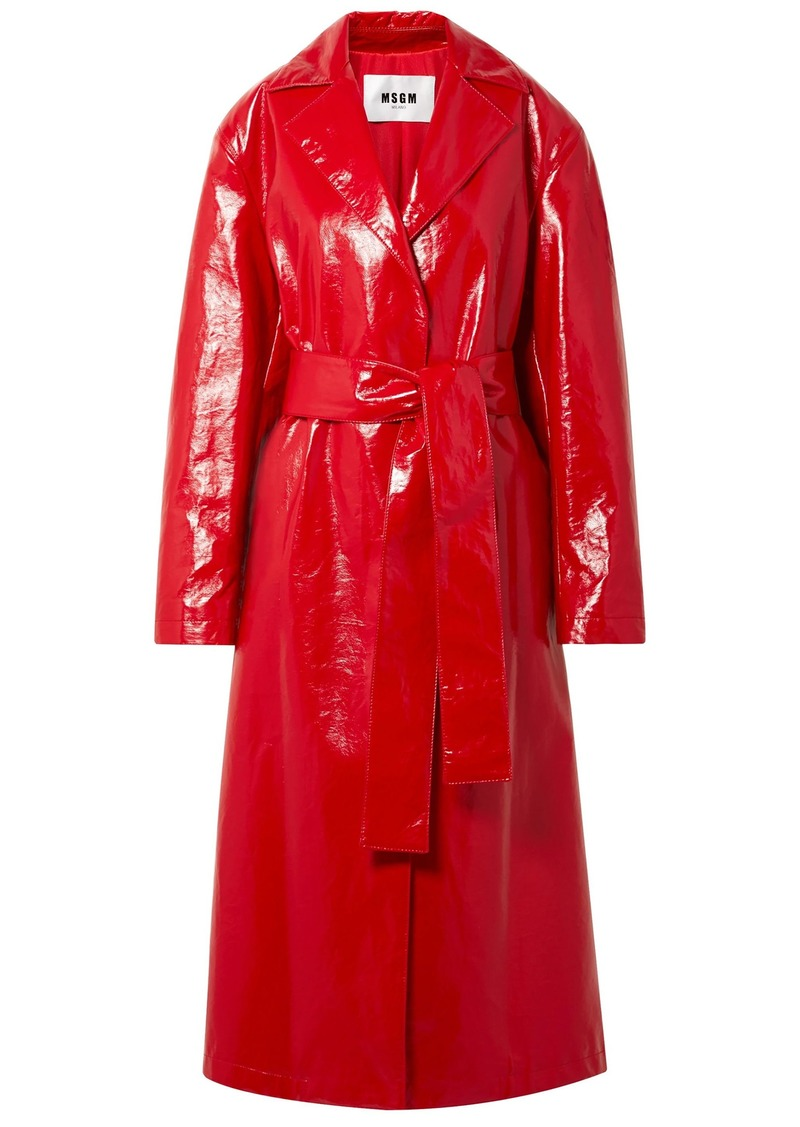 Msgm Woman Crinkled Coated Cotton-blend Trench Coat Red