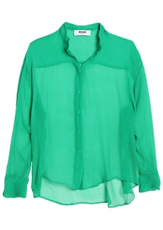 Msgm Woman Crinkled Silk-chiffon Shirt Jade