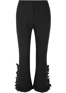 Msgm Woman Cropped Ruffle-trimmed Crepe Flared Pants Black