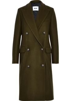 Msgm Woman Double-breasted Wool-blend Felt Coat Army Green