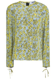 Msgm Woman Draped Floral-print Silk Crepe De Chine Top Azure