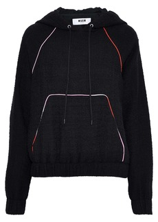 Msgm Woman Embroidered Bouclé-knit Cotton-blend Hoodie Black