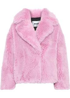 Msgm Woman Faux Fur Coat Bubblegum