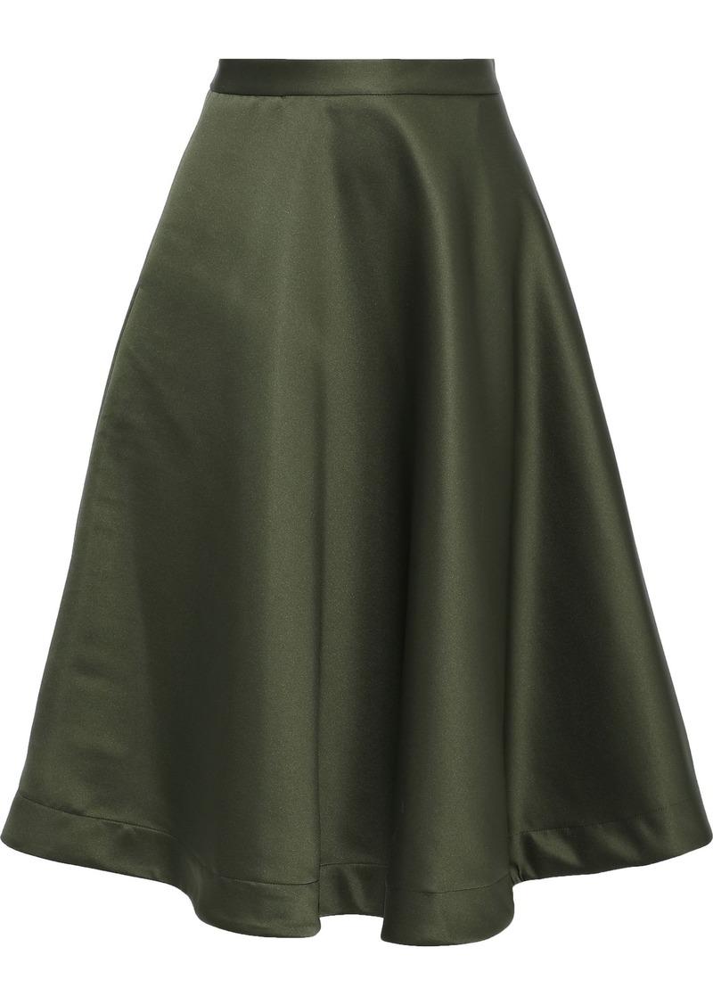 Msgm Woman Flared Satin Skirt Dark Green