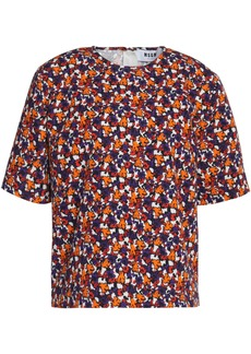 Msgm Woman Floral-print Cotton-faille Top Orange