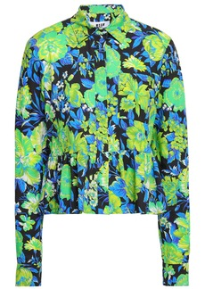 Msgm Woman Floral-print Cotton-poplin Peplum Shirt Lime Green