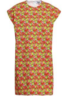 Msgm Woman Floral-print Cotton-twill Mini Dress Copper