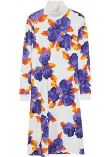 Msgm Woman Floral-print French Cotton-terry Turtleneck Midi Dress White
