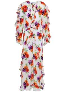 Msgm Woman Floral-print Silk Crepe De Chine Maxi Dress White