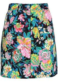 Msgm Woman Floral-print Denim Mini Skirt Black
