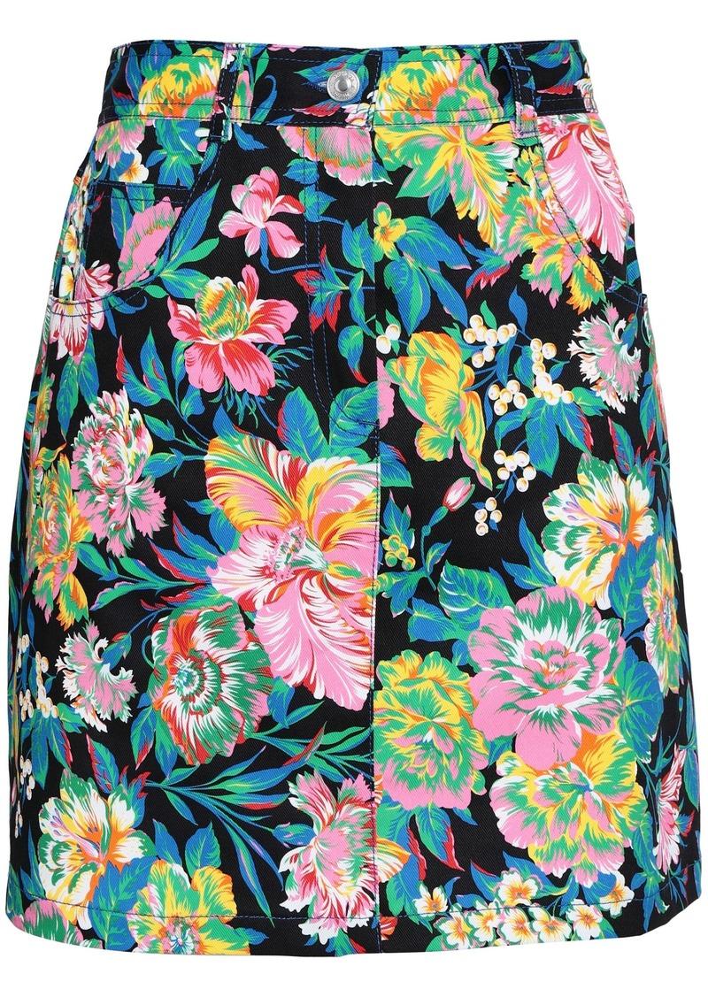 Msgm Woman Floral-print Denim Mini Skirt Black