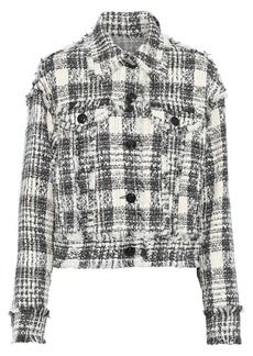 Msgm Woman Frayed Cotton-blend Bouclé-tweed Jacket Black
