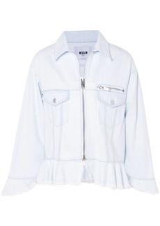 Msgm Woman Frayed Denim Peplum Jacket Sky Blue