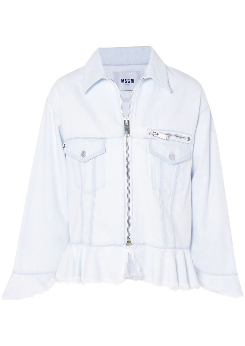 Msgm Woman Frayed Denim Peplum Jacket Sky Blue