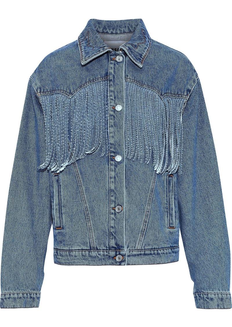 Msgm Woman Fringed Denim Jacket Blue