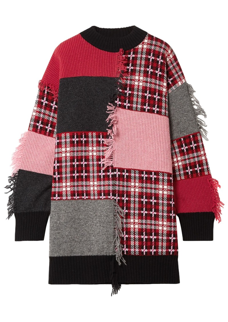 Msgm Woman Fringed Patchwork Wool-blend Jacquard Sweater Pink
