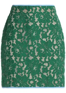 Msgm Woman Guipure Lace Mini Skirt Green