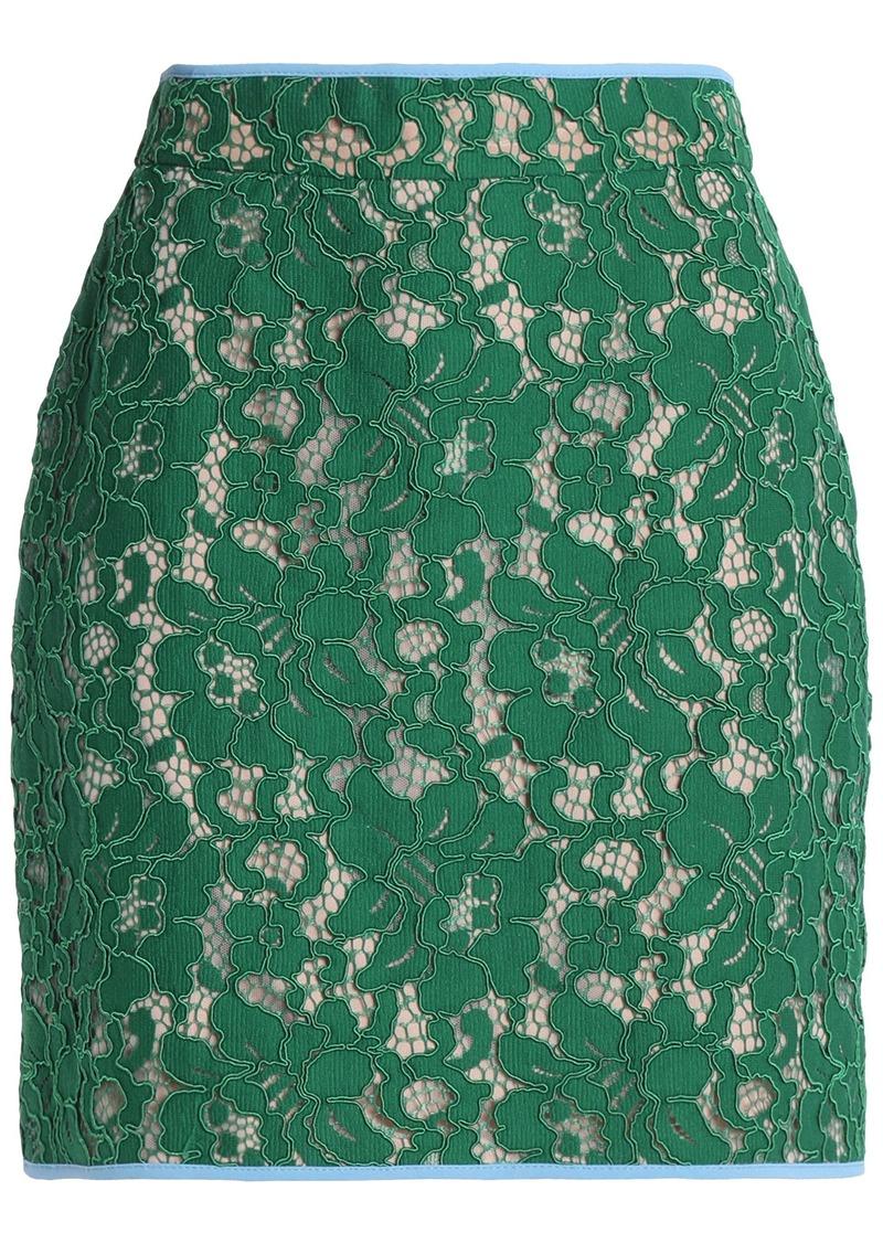Msgm Woman Guipure Lace Mini Skirt Green