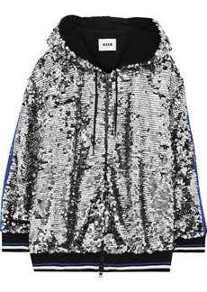 Msgm Woman Intarsia-trimmed Sequined Cotton Hoodie Silver