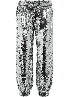Msgm Woman Intarsia-trimmed Sequined Cotton Track Pants Silver