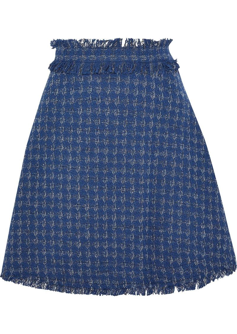 Msgm Woman Metallic Cotton-blend Tweed Mini Skirt Cobalt Blue