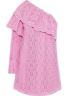 593e72859 Msgm Woman One-shoulder Ruffled Broderie Anglaise Cotton Mini Dress Pink