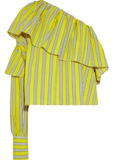 Msgm Woman One-shoulder Ruffled Striped Cotton-poplin Top Chartreuse