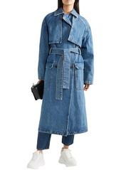 Msgm Woman Oversized Denim Trench Coat Mid Denim