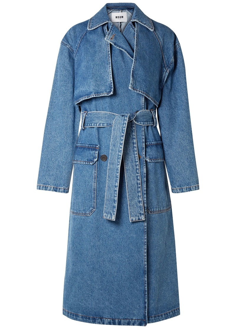 Msgm Woman Oversized Denim Trench Coat Mid Denim