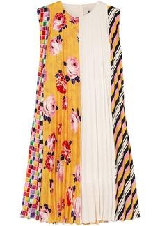 Msgm Woman Paneled Pleated Printed Crepe Mini Dress Marigold