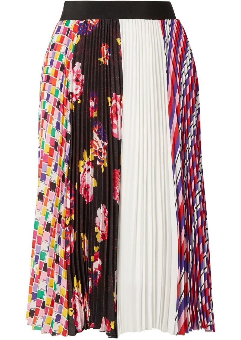 Msgm Woman Paneled Pleated Printed Crepe Skirt Multicolor